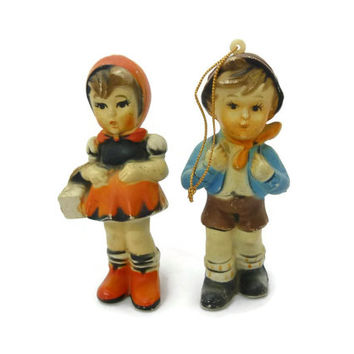 Vintage Hummel Like Ornaments Boy and Girl School Days Composite Made in Hong Kong
