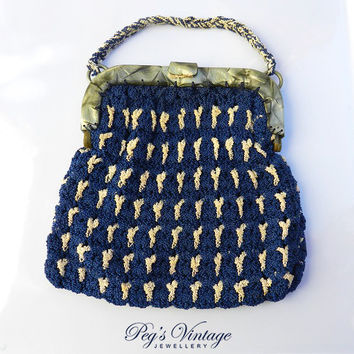 Vintage Blue & White Art Deco Purse- 1930s -1940s Woven/Crochet Purse with Early Plastic/Lucite Frame Handle, Floral/Flowers Inside Frame