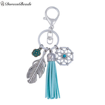 "DoreenBeads Velvet Suede Vintage Keychain & Keyring Silver Plated Green Tassel Dreamcatcher Feather 13.8cm(5 3 8"") 1 PC"