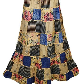 Mogulinterior Womens Patchwork Skirts Vintage Forever Fun Funky Ethnic Printed Long Skirts