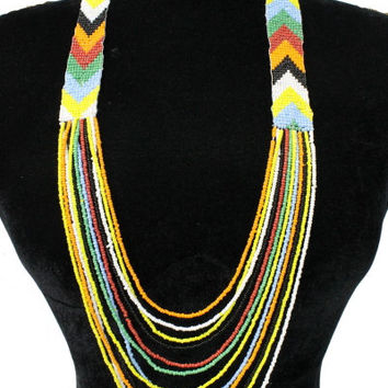 AZTEC Trendy Chevron Seedbead Long Necklace Beaded Fashion Red Green Yellow Black Bead Costume Jewelry Gift
