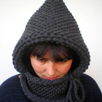Charcoal Grey Double Spirit  Knit Hood Super soft Mixed    wool Woman Reversible   Hooded Cowl  White Chunky Hoodie