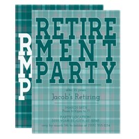 Sporty Green Plaid Retirement Party Invitations