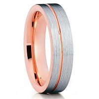 Rose Gold Tungsten Ring - Tungsten Carbide Ring - Silver Brush - Unique