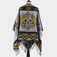 Day of the Dead Sugar Skull Aztec Fringe Poncho - Gold