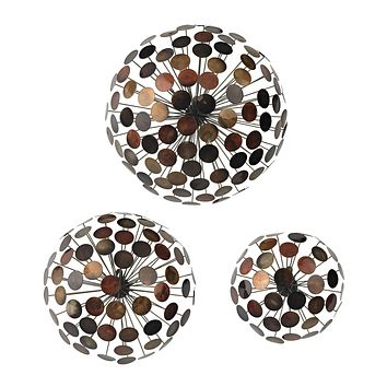 138-115/S3 Set Of 3 Dandelion Wall Sculptures - Free Shipping!