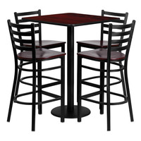 "Flash Furniture 30"""" Square Mahogany Laminate Table With 4 Ladder Back Metal Restaurant Bar Stool Set Mahogany Wood Seat"