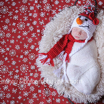 Newborn Snowman Hat Set with scarf Baby Photo Prop Newborn 0-3 month Crochet photo prop Handmade Christmas Hat Babies first christmas