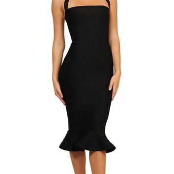 Safe With You Black Sleeveless Halter Square Neck Bodycon Bandage Fish Tail Midi Dress