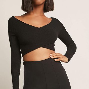 Wrap-Inspired Sweater-Knit Crop Top
