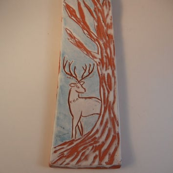 Stag in the Woods Ceramic Incense Holder