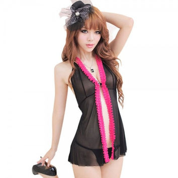 Open Front Babydoll & Thong-Pink & Black