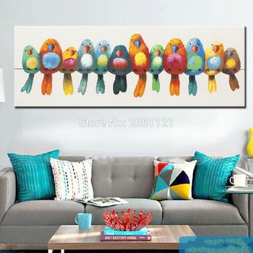 funny hand painted canvas oil painting colorful birds canvas art cute lovely bird picture abstract home decoration wall painting