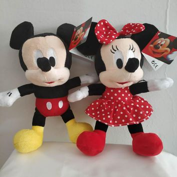 1pcs 28cm Mickey Mouse And Minnie Mouse Stuffed Plush Toys High Quality Soft Doll For Kids gift