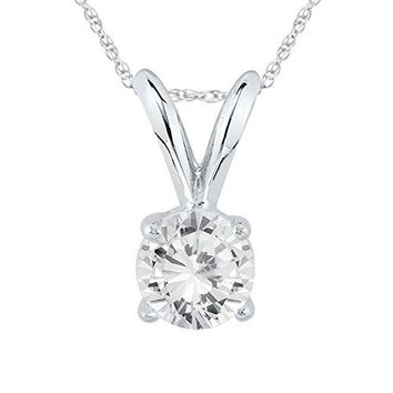 Certified 1/3 Carat Round Diamond Solitaire Pendant Necklace