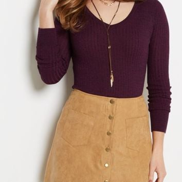 Purple Marled Fitted V-Neck Sweater | Sweaters | rue21