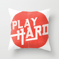 Play Hard Throw Pillow by Mike Thompson | Design + Illustration