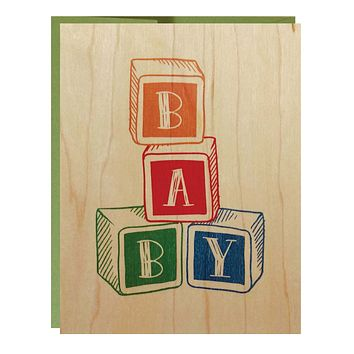 Baby Wood Block Greeting Card