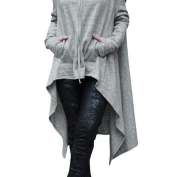 Light Grey Hoodie Sweatshirt with Irregular Hem