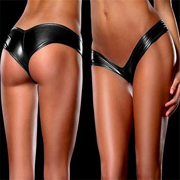 2017 Sexy latex Underwear Women Pole Dancing  Panties 10 Colors Patent Leather Micro Mini Shorts Briefs Metallic G-Strings Thong