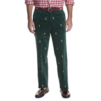 Beachcomber Corduroy Pant in Hunter with Embroidered Nutcracker by Castaway Clothing - FINAL SALE