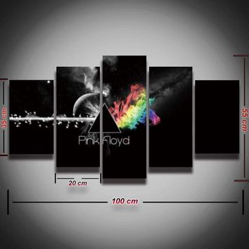 5 pcs printed Pink Floyd rock music canvas painting for wall art living room home decor Canvas Print poster Framed Free Shipping