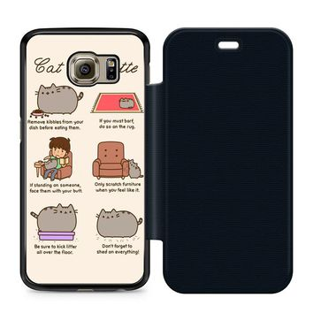 Pusheen Cat Eat Etiquette Leather Wallet Flip Case Samsung Galaxy S6
