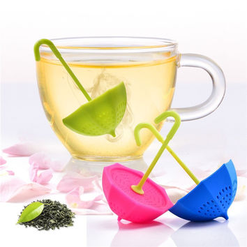 Sale Cute Umbrella Silicone Tea Infuser Filter Coffee Strainers Drinkware Four Colors Choice