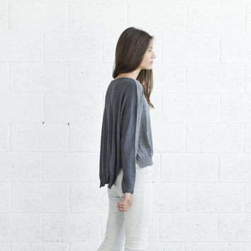 Thanksgiving sale Color block Grey sweater