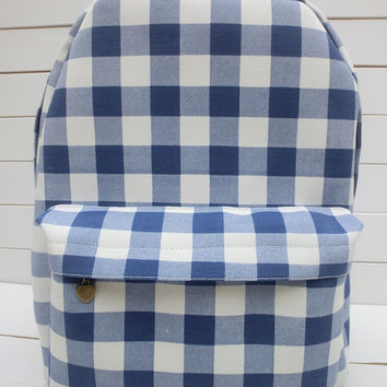 Plaid Style Casual Pastoral Style Backpack = 4887829316