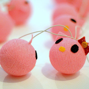 20 x Strawberry Pink Kitty kitten cute beautiful lantern garland string light cotton ball party wedding bedroom light