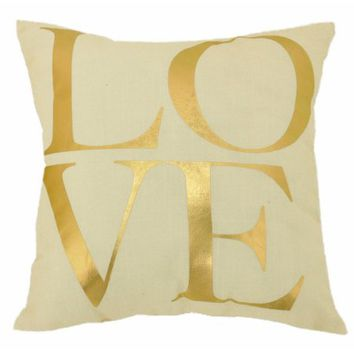 Formula Love and Hearts Reversible Print Decorative Pillow, White and Gold - Walmart.com