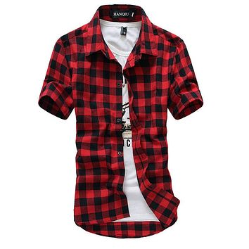 Men's Red and Black Plaid Business Casual Grunge Flannel Shirt