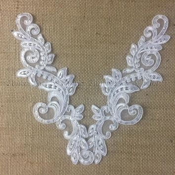 "1 Pair, Applique Pair for Bridal Dresses White with Cording and Clear Sequins, 10"" X 3"" (Item# B1043D3)"