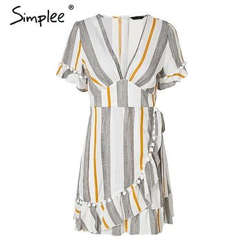 Simplee V neck stripe ruffle summer dress women Wrap style cotton short dress 2018 Streetwear casual dress female vestidos