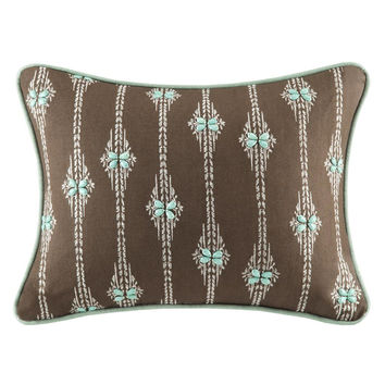 Harbor House Miramar  Cotton Solid Oblong Pillow w/ Embroidery, Brown