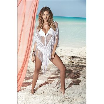 Mapale White Crochet Deep V Plunge Fringed Cover-up Beach Dress (Black also available)