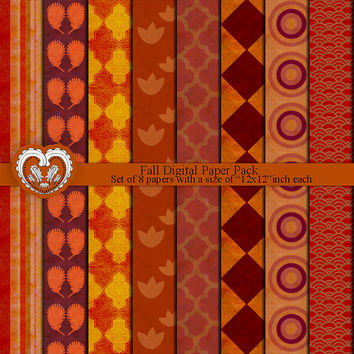 Fall Instant Download Digital Paper Goods for Scrapbooking and Crafts