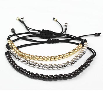 Men's Bracelets Gold-color 4mm Round Beads Handmade Braiding Macrame