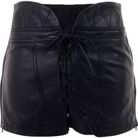 Alexander Wang Leather High Waist Lace Up Mini/Short Shorts