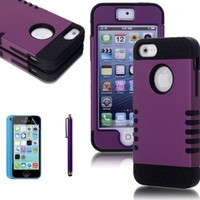 ATC Lumsing(TM) 3-piece 3 in 1 Combo Hybrid Defender High Impact Body Armor Hard PC & silicone Case Protective Cover Protector Accessories for Apple iPhone 5C iPhone 5 iPhone 5s with Screen Protector & Stylus Pen (Purple+Black)
