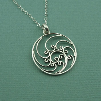 Filigree Spiral Wave Necklace - sterling silver - zen necklace - handmade, gift