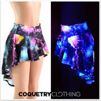 NEW! UV Glow Galaxy Hi Lo Rave Mini Skirt