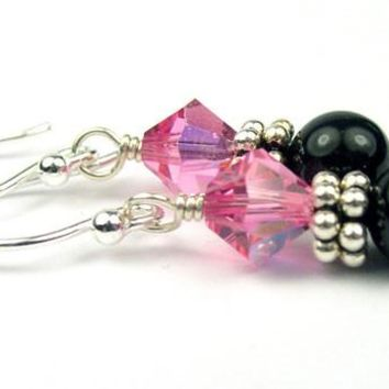Sterling Silver Black Pearl Earrings October Rose (Pink Tourmaline) Swarovski Crystal Elements