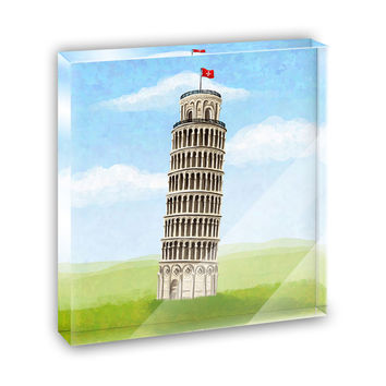 Italy Leaning Tower of Pisa Mini Desk Plaque and Paperweight