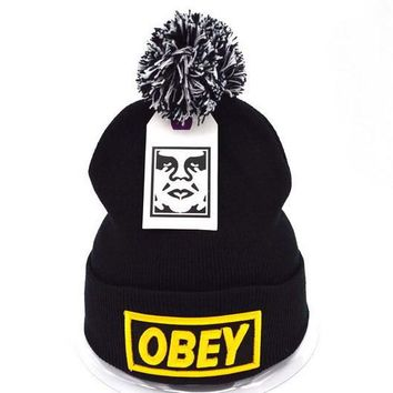 Obey Women Men Embroidery Beanies Knit Wool Hat Cap-4