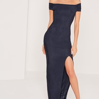 Missguided - Slinky Bardot Maxi Dress Navy