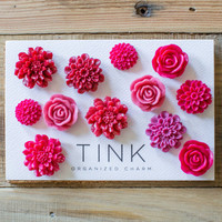 Pretty Decorative Flower Thumbtacks - Set of 12 -  Cosmopolitan: Pinks & Reds