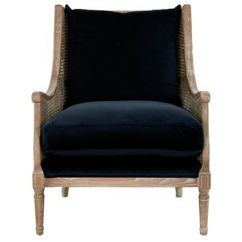 Churchill Club Chair Navy Velvet, Weathered