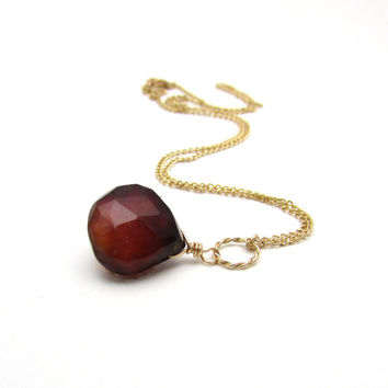 Hessonite garnet pendant necklace, gold garnet jewelry, reddish brown garnet, red rust necklace, unique garnet necklace, gemstone pendant
